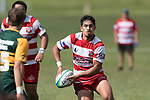 Kalione Hala looks to pass wide only to have it intercepted by Jamie King. Counties Manukau Premier Counties Power Club Rugby game between Karaka and Pukekohe, played at the Karaka Sports Park on Saturday March 10th 2018. Pukekohe won the game 31 - 27 after trailing 5 - 20 at halftime.<br /> Photo by Richard Spranger.