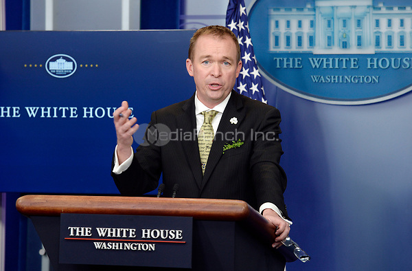 Office of Management and Budget (OMB) Director Mick Mulvaney (R) speaks about the Fiscal Year 2018 budget proposed by United States President Donald J. Trump during the White House press briefing on March 16, 2017 in Washington, DC. <br /> Credit: Olivier Douliery / Pool via CNP /MediaPunch