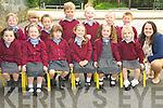 Junior infants at Knockanes National School, Killarney Sarah Dineen, Caoimhe O'Donovan, Aoise O'Donoghue, Abbey Cronin, Kiera O'Sullivan, Muireann Healy, Robert Cahill, Isac Casey, Tadhg Herlihy, Fionn Lynch, Brian O'Connell, Brian O'Connor Dennehy and Darren O'Sullivan Darcy pictured with their teacher Aine O'Shea during their first day at the school on Friday...................................................................................................