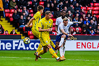 ?Norwich City's forward James Maddison (10) for England U21's  strikes on goal during the International Euro U21 Qualification match between England U21 and Ukraine U21 at Bramall Lane, Sheffield, England on 27 March 2018. Photo by Stephen Buckley / PRiME Media Images.