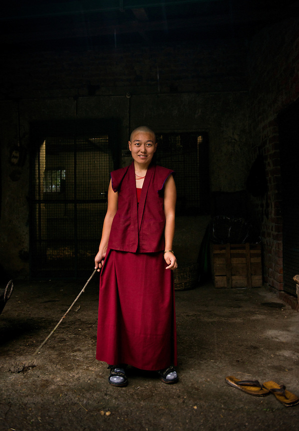Portrait of Tibetan nun at the Dolma Ling Nunnery and Institute,  Kangra Valley, Dharamshala, Northern India, India