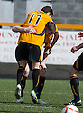 Alloa's Kevin Cawley is congratulated after he scores their first goal.