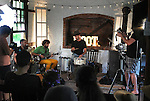 Baby States trio, being recorded in the Pewter Shop venue, on the third-and-final day of the 4th Annual Summer Hoot Festival, held at the Ashokan Center in Olivebridge, NY, on Sunday, August 28, 2016. Photo by Jim Peppler; Copyright Jim Peppler 2016.