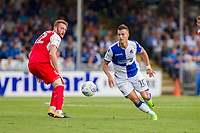 Billy Bodin of Bristol Rovers gets away from Cian Bolger of Fleetwood Town during the Sky Bet League 1 match between Bristol Rovers and Fleetwood Town at the Memorial Stadium, Bristol, England on 26 August 2017. Photo by Mark  Hawkins.