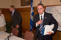 August 12,  2003, Montreal, Quebec, Canada<br /> <br /> Gerald Tremblay, Mayor of Montreal (L) and <br /> Claude Bechard, Quebec Minister of Work, Social Solidarity and Family (Emploi, Solidarit&Egrave; Sociale et famille) (R)<br /> after an announcement about fighting poverty on the Montreal island, during a  press conference, august 12,  2003  in Montreal, CANADA<br /> <br /> <br /> Mandatory Credit: Photo by Pierre Roussel- Images Distribution. (&copy;) Copyright 2003 by Pierre Roussel