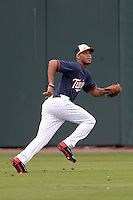 Minnesota Twins outfielder Byron Buxton (70) shags fly balls during practice on February 25, 2014 at Hammond Stadium in Fort Myers, Florida.  (Mike Janes Photography)