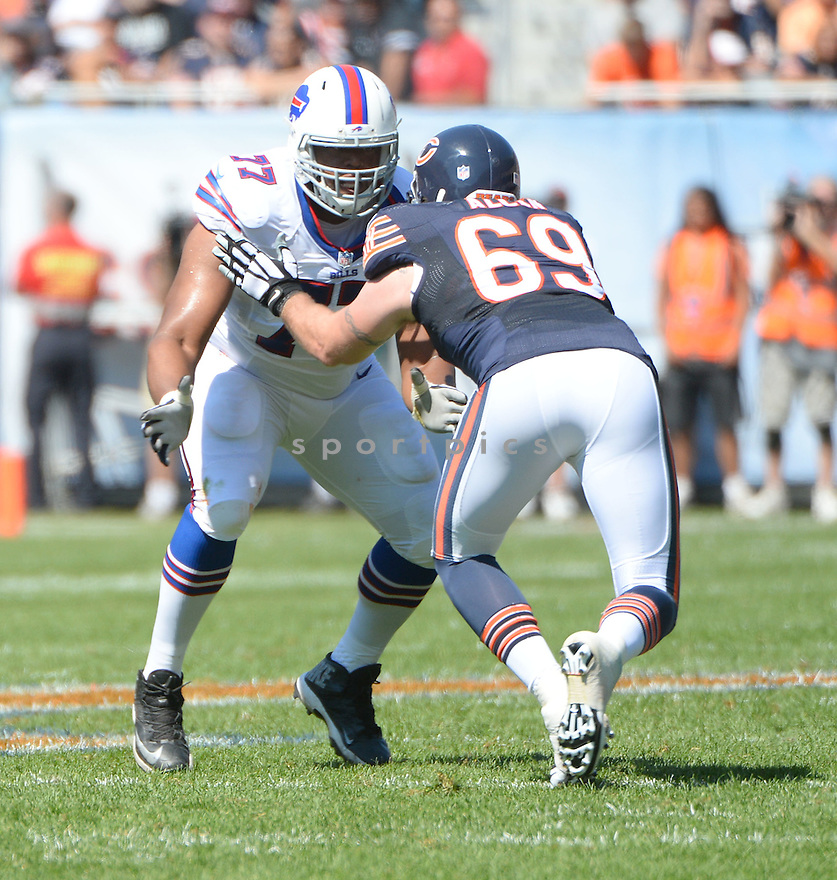 Buffalo Bills Cordy Glenn (77) during a game against the Chicago Bears on September 7, 2014 at Soldier Field in Chicago, IL. The Bills beat the Bears 23-20.