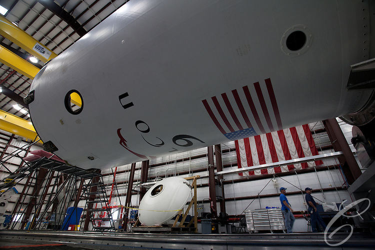 SpaceX's Falcon 9 rocket as seen in its Launch Complex 40  hangar at  Cape Canaveral, Florida.