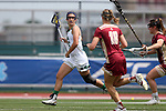 RICHMOND, VA - APRIL 27: Notre Dame's Cortney Fortunato (left) is followed by Boston College's Dempsey Arsenault (18). The Notre Dame Fighting Irish played the Boston College Eagles on April 27, 2017, at Sports Backers Stadium in Richmond, VA in an ACC Women's Lacrosse Tournament quarterfinal match. Boston College won the game 17-14.