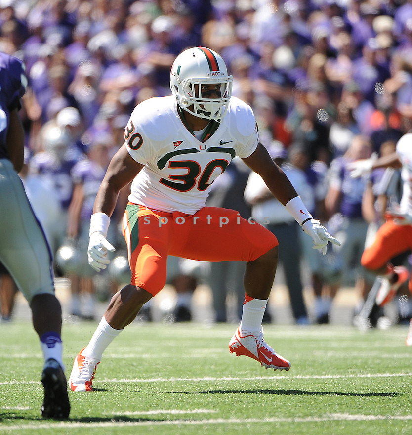 Miami Hurricanes AJ Highsmith (30) in action during a game against the Kansas State Wildcats on September 8, 2012 at Bill Snyder Family Stadium in Manhattan, KS. Kansas State beat Miami 52-13.