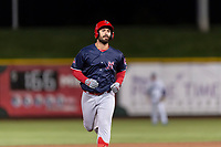 Memphis Redbirds left fielder Rangel Ravelo (44) rounds the bases after hitting a home run during a Pacific Coast League game against the Omaha Storm Chasers on April 26, 2019 at Werner Park in Omaha, Nebraska. Memphis defeated Omaha 7-3. (Zachary Lucy/Four Seam Images)