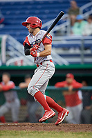 Williamsport Crosscutters right fielder Matt Vierling (28) grounds out during a game against the Batavia Muckdogs on June 22, 2018 at Dwyer Stadium in Batavia, New York.  Williamsport defeated Batavia 9-7.  (Mike Janes/Four Seam Images)