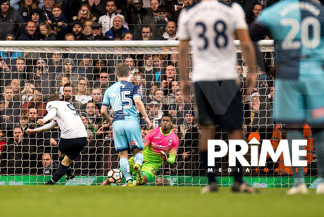 Vincent Janssen of Tottenham Hotspur slots home the penalty during the FA Cup 4th round match between Tottenham Hotspur and Wycombe Wanderers at White Hart Lane, London, England on the 28th January 2017. Photo by Liam McAvoy.