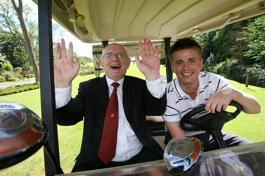 10/08/'10 Brian Ormond & Jimmy Magee pictured at Palmerstown House Estate Golf Club, Co. Kildare this evening for the launch of  Charity Golf Day for Motor Neurone  Disease. Jimmy Magee's son died of the disease. The Irish Motor Neurone Disease Association was chosen as the recipient of this major fundraiser  to be hosted by TV Presenter Brian Ormond and broadcasting legend  Jimmy Magee; a Charity Golf Day featuring over 40 teams including well  known faces such as Craig Doyle, Shane Byrne and many more..The event takes place on Thursday 19th August at the  exclusive Palmerstown House Estate Golf Club, Johnstown, Co. Kildare  with tee off times at 9:45am and 2:30pm...Picture Colin Keegan, Collins, Dublin.