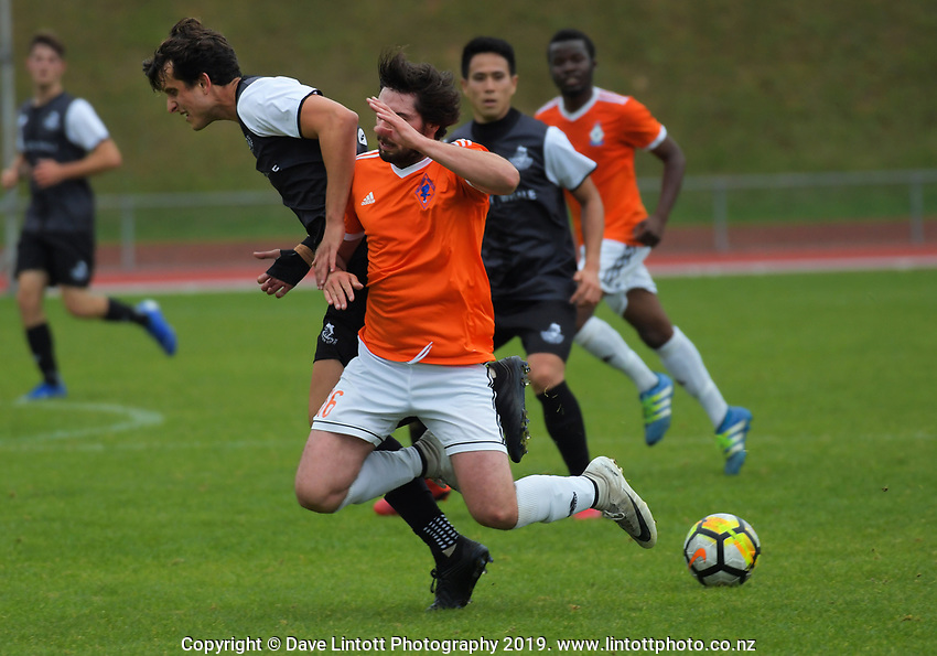 Action from the Central League football match between Wellington United and Napier City Rovers at Newtown Park in Wellington, New Zealand on Monday, 22 April 2019. Photo: Dave Lintott / lintottphoto.co.nz
