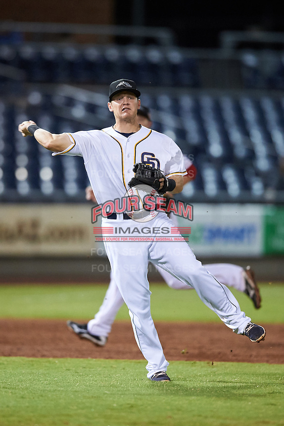 Peoria Javelinas Josh VanMeter (4), of the San Diego Padres organization, during a game against the Glendale Desert Dogs on October 18, 2016 at Peoria Stadium in Peoria, Arizona.  Peoria defeated Glendale 6-3.  (Mike Janes/Four Seam Images)