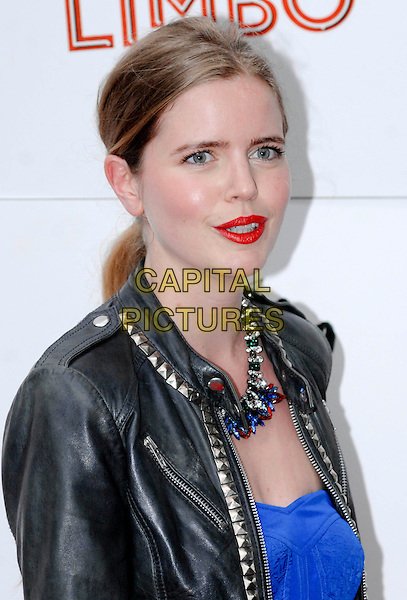 "Katie Readman.The ""Limbo"" press night, Priceless London Wonderground, Jubilee Gardens, London, England..May 20th, 2013.headshot portrait red black lipstick leatherjacket blue necklace .CAP/PP/GM.©Gary Mitchell/PP/Capital Pictures"