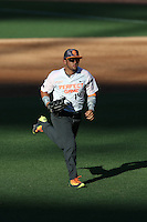 Carlos Cortes (14) of the East team runs to the dugout during the 2015 Perfect Game All-American Classic at Petco Park on August 16, 2015 in San Diego, California. The East squad defeated the West, 3-1. (Larry Goren/Four Seam Images)