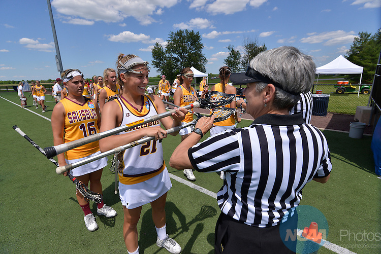 25 MAY 2014:  Salisbury University takes on Trinity University during the Division III Women's Lacrosse Championship held at Clark Field in Gettysburg, PA. Salisbury defeated Trinity 9-6 for the national title.  Andres Alonso/NCAA Photos