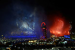 Olympic Games 2012 Opening ceremony...stadium lit up in smoke after the fireworks.....Pic by Gavin Rodgers/Pixel 8000 Ltd