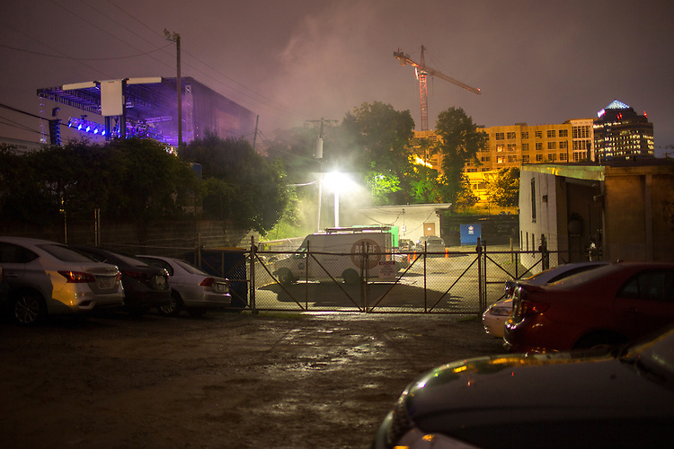 Durham, North Carolina - Thursday May 19, 2016 - Smoke billows behind the Motorco stage as Floating Points performs Thursday night during Moogfest in Durham.