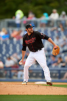Nashville Sounds relief pitcher Chris Jensen (15) delivers a pitch during a game against the New Orleans Baby Cakes on May 1, 2017 at First Tennessee Park in Nashville, Tennessee.  Nashville defeated New Orleans 6-4.  (Mike Janes/Four Seam Images)