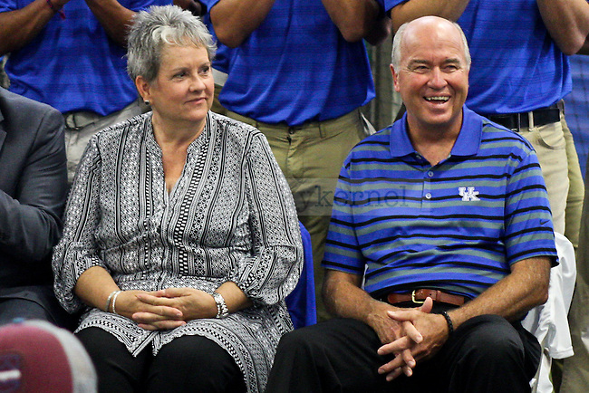 Wendell (right) and Vickie (left) Bell listen to speeches given during the dedication ceremony of the Wendell and Vickie Bell Soccer Complex in Lexington, Ky., on Sunday, August 31, 2014. Photo by Jonathan Krueger | Staff