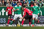 13.04.2019, Weserstadion, Bremen, GER, 1.FBL, Werder Bremen vs SC Freiburg<br /> <br /> DFL REGULATIONS PROHIBIT ANY USE OF PHOTOGRAPHS AS IMAGE SEQUENCES AND/OR QUASI-VIDEO.<br /> <br /> im Bild / picture shows<br /> Max Kruse (Werder Bremen #10), Janik Haberer (SC Freiburg #19), <br /> <br /> Foto &copy; nordphoto / Ewert