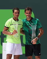 www.acepixs.com<br /> <br /> April 2 2017, Key Biscayne<br /> <br /> Roger Federer (R) of Switzerland defeated Rafael Nadal of Spain in the Men's Finals on day 14 of the Miami Open at Crandon Park Tennis Center on April 2, 2017 in Key Biscayne, Florida.<br /> <br /> By Line: Solar/ACE Pictures<br /> <br /> ACE Pictures Inc<br /> Tel: 6467670430<br /> Email: info@acepixs.com<br /> www.acepixs.com