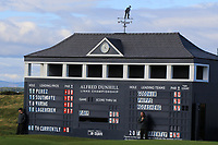 Scoreboard at the 17th green during Round 3 of the Alfred Dunhill Links Championship 2019 at St. Andrews Golf CLub, Fife, Scotland. 28/09/2019.<br /> Picture Thos Caffrey / Golffile.ie<br /> <br /> All photo usage must carry mandatory copyright credit (© Golffile | Thos Caffrey)