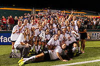 Portland Thorns players pose for a photo in front of their supporters section. The Portland Thorns defeated the Western New York Flash 2-0 during the National Women's Soccer League (NWSL) finals at Sahlen's Stadium in Rochester, NY, on August 31, 2013.