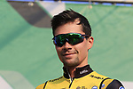 Primoz Roglic (SLO) Team LottoNL-Jumbo at sign on before the start of the 112th edition of Il Lombardia 2018, the final monument of the season running 241km from Bergamo to Como, Lombardy, Italy. 13th October 2018.<br /> Picture: Eoin Clarke | Cyclefile<br /> <br /> <br /> All photos usage must carry mandatory copyright credit (© Cyclefile | Eoin Clarke)