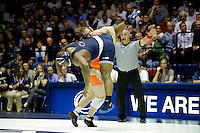 STATE COLLEGE, PA -DECEMBER 19: Jimmy Lawson of the Penn State Nittany Lions during a match against Ty Walz of the Virginia Tech Hokies on December 19, 2014 at Recreation Hall on the campus of Penn State University in State College, Pennsylvania. Penn State won 20-15. (Photo by Hunter Martin/Getty Images) *** Local Caption *** Jimmy Lawson;Ty Walz