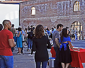 Early in the evening with people just arriving and mingling. <br />