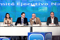 Maria Dolores de Cospedal, Mariano Rajoy Javier Arenas and  Esteban Gonz?°lez Pons during the appearance of Mariano Rajoy at the PP headquarters to talk about the B?°rcenas case