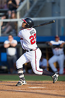 Leudys Baez (27) of the Danville Braves follows through on his swing against the Princeton Rays at American Legion Post 325 Field on June 25, 2017 in Danville, Virginia.  The Braves walked-off the Rays 7-6 in 11 innings.  (Brian Westerholt/Four Seam Images)