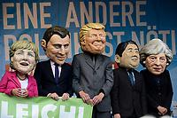 GERMANY, Hamburg, protest rally against G-20 summit in july 2017, mask of the G20 politicians in chief like Angela Merkel, Donald Trump  / DEUTSCHLAND, Hamburg, Protest Demo gegen G20 Gipfel in Hamburg