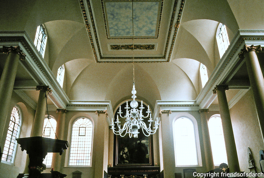 "Sir Christopher Wren: St. James Garlickhythe, 1674-1687.  Interior. The interior is ""one of the few among Wren's churches to have retained some of the atmosphere of 17th century Protestantism."" (No stained glass.)"