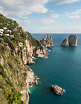 View of Faraglioni Rock on the island of Capri, Italy