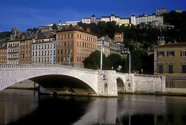 Bonaparte Bridge, Saone River, city of Lyon, Rhone Alpes, France, Europe