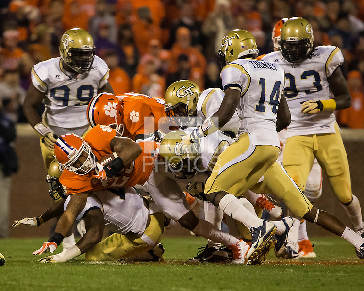 The eighth ranked Clemson Tigers defeat the Georgia Tech Yellow Jackets at Death Valley 55-31 in an ACC matchup.  Clemson Tigers running back Roderick McDowell (25)