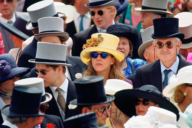 Racegoers watch the day's racing at Ascot Races, Surrey, United Kingdom