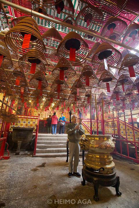 Central. Man Mo Temple. Incense Spirals.