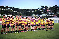 Porirua College observe a minute's silence before the Wellington Premiership secondary schools rugby match between Scots College and Porirua at Scots College in Wellington, New Zealand on Saturday, 26 May 2018. Photo: Dave Lintott / lintottphoto.co.nz