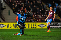 Fleetwood Town's forward Jordy Hiwula (7) celebrates equalising to make it 1-1 during the Sky Bet League 1 match between Scunthorpe United and Fleetwood Town at Glanford Park, Scunthorpe, England on 17 October 2017. Photo by Stephen Buckley/PRiME Media Images