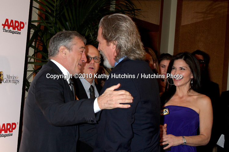Robert DeNiro & Jeff Bridges.arriving at the Ninth Annual AARP the Magazine`s Movies for Grownups Awards Gala .Beverly Wilshire Hotel.Beverly Hills, CA.February 16, 2010.©2010 Kathy Hutchins / Hutchins Photo....