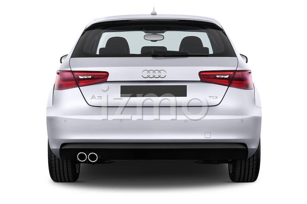 Straight rear view of a 2013 - 2014 Audi A3 Ambition 3-Door Hatchback.