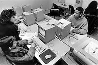 New York, NY circa 1988 - Public Junior High School students learn creative writing at the Macintosh computer lab at the School of Visual Arts ( SVA)