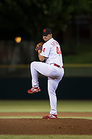 Scottsdale Scorpions relief pitcher Luke Leftwich (44), of the Philadelphia Phillies organization, delivers a pitch during an Arizona Fall League game against the Salt River Rafters at Scottsdale Stadium on October 12, 2018 in Scottsdale, Arizona. Scottsdale defeated Salt River 6-2. (Zachary Lucy/Four Seam Images)