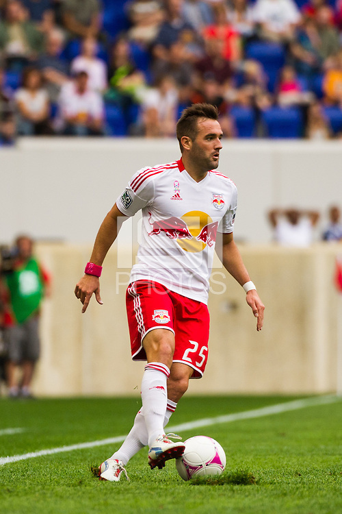 Brandon Barklage (25) of the New York Red Bulls. The Chicago Fire defeated the New York Red Bulls 2-0 during a Major League Soccer (MLS) match at Red Bull Arena in Harrison, NJ, on October 06, 2012.
